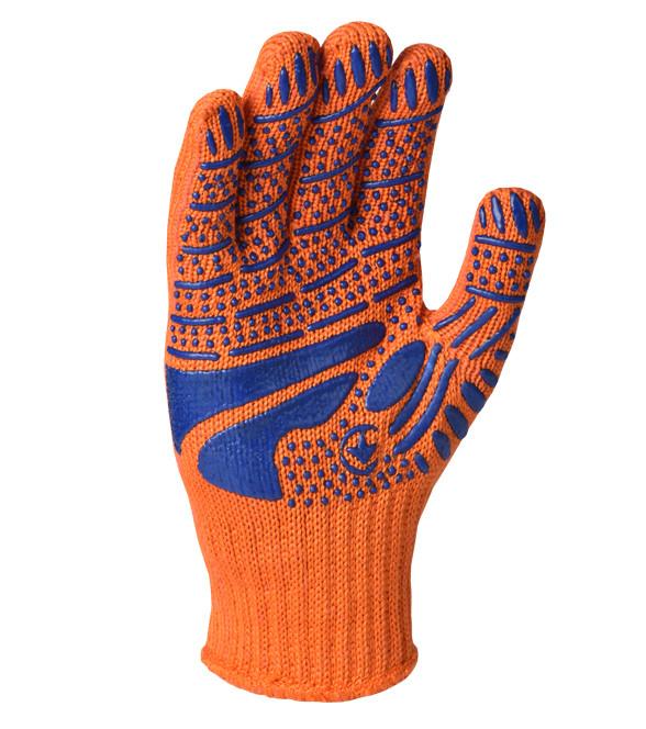Перчатки  рабочие DOLONI с ПВХ  упрочнённая(оранжевая)