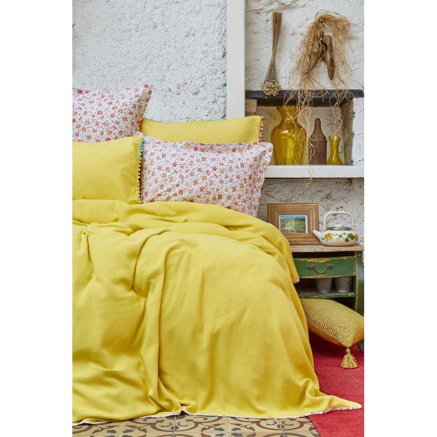 Постельное белье Karaca Home - Picata sari 2018-2 желтый pike jacquard 200*220 евро