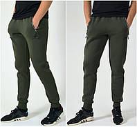 Утепленные мужские спортивные штаны Nike (Найк) на манжете / Трикотаж трехнитка с начесом - хаки