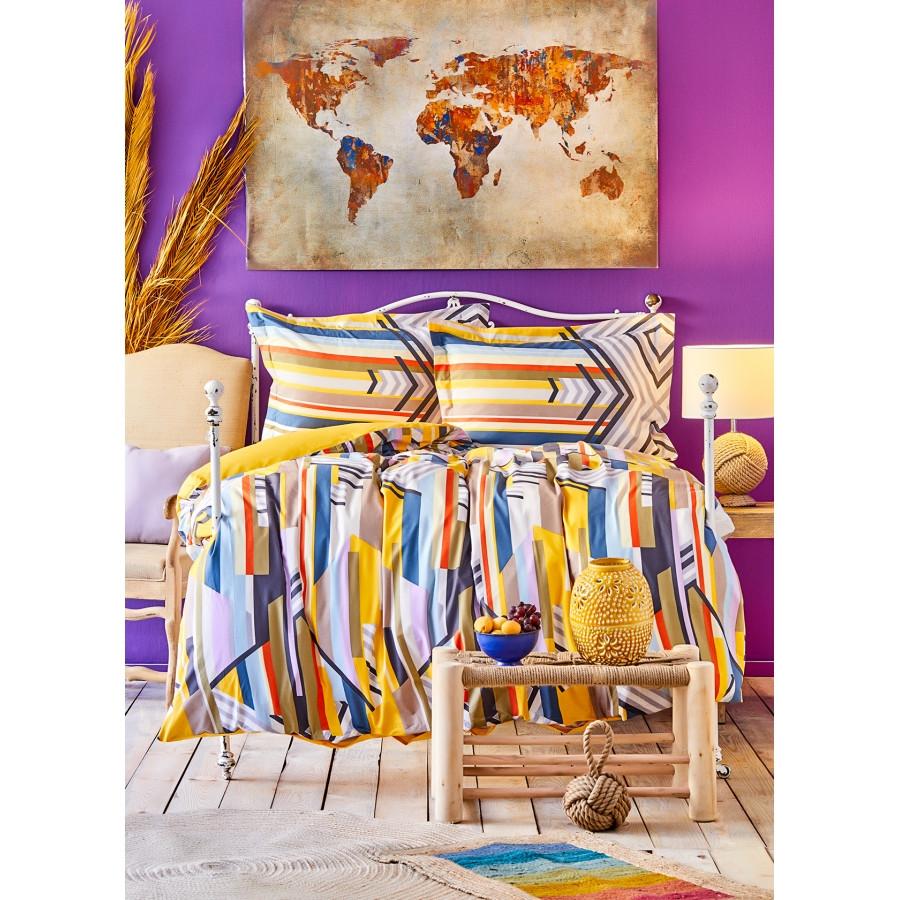 Постельное белье Karaca Home ранфорс - Cherry sari 2020-1 желтый евро