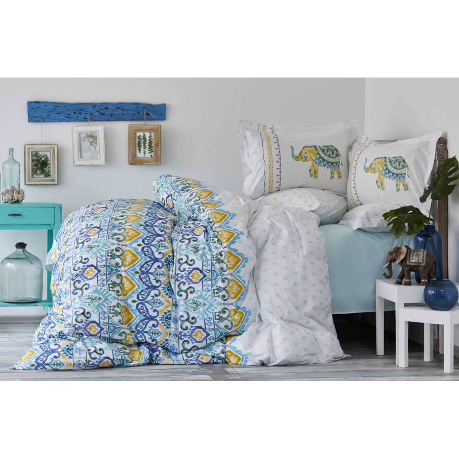 Постельное белье Karaca Home - Marodisa mavi 2018-2 голубой пике 220*230 евро