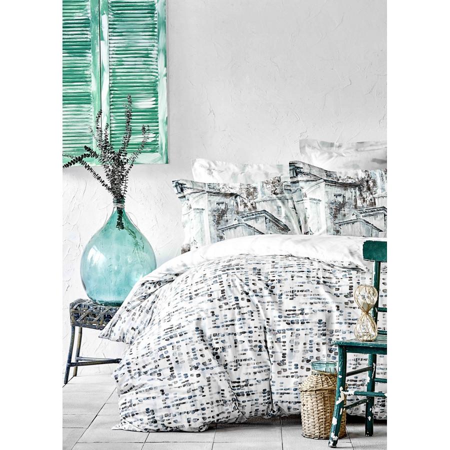 Постельное белье Karaca Home ранфорс - Vella mavi 2020-1 голубой евро