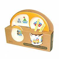 Детская бамбуковая посуда 3 в 1 Кораблик (желтый)