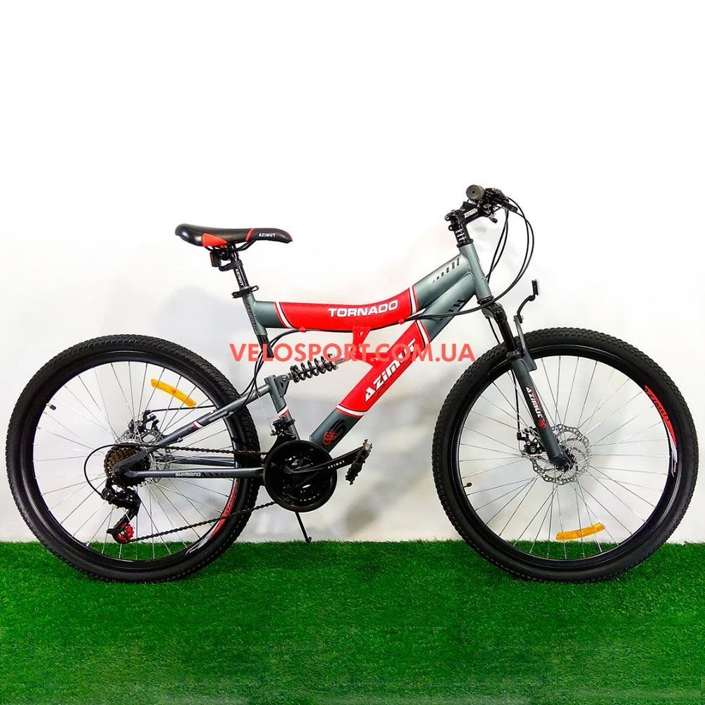 Подростковый велосипед Azimut Tornado 24 D серо-красный