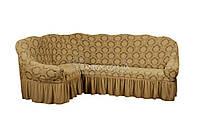 Жаккардовый чехол-накидка на угловой диван с оборкой Karahanli бежевый