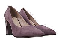 Туфли женские на каблуке Geronea натуральный замш, цвет сиреневый.