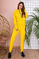 Модный женский спортивный костюм для спорта и отдыха кофта без капюшона и брюки желтый
