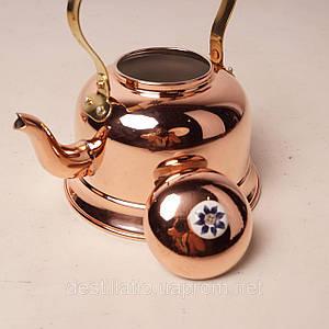 Медный чайник с фарфоровой ручкой 1,7л