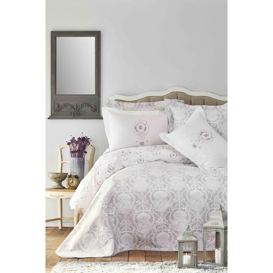 Набор постельное белье с покрывалом Karaca Home - Quatre delux silver 2019-2 серебро евро