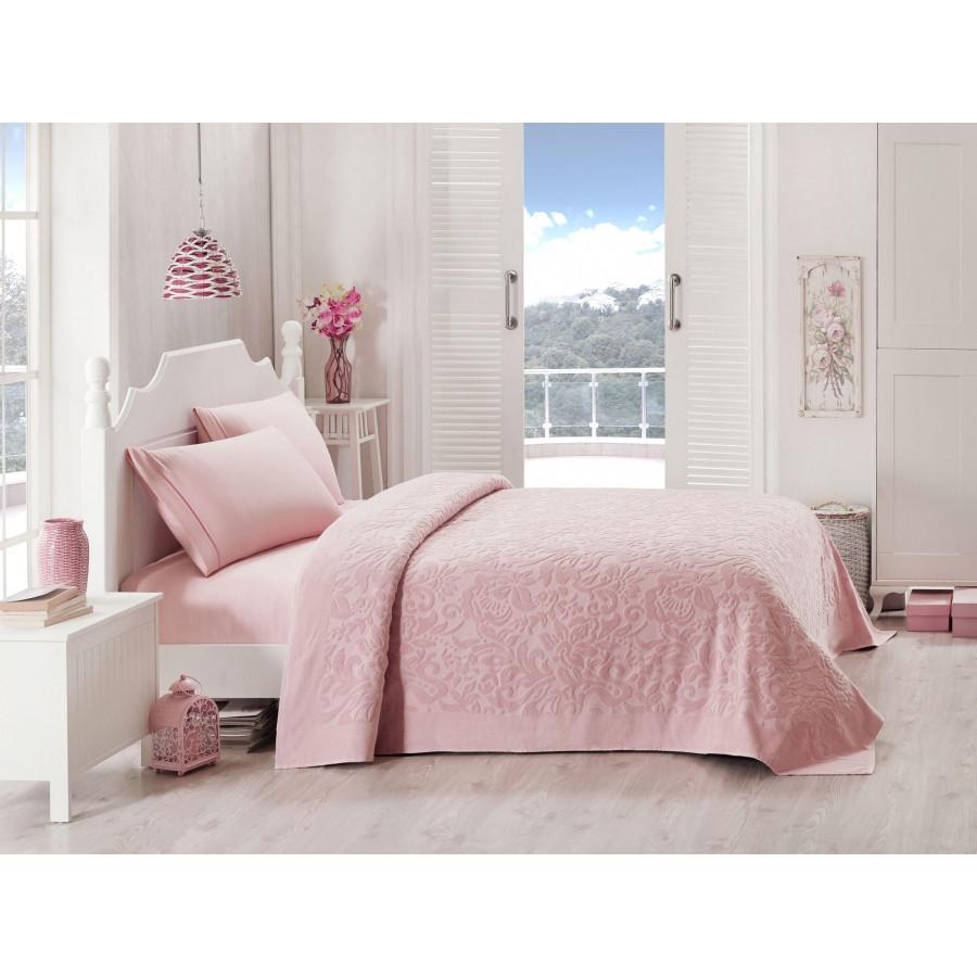 Набір постільної білизни TAC сатин + махрове простирадло - Lyon a.gul kurusu рожевий євро