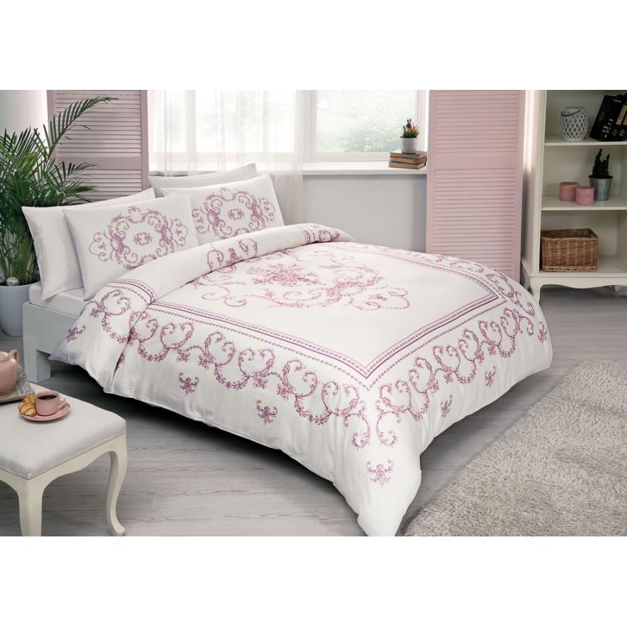 Постельное белье Tac сатин - Dora pembe розовый евро
