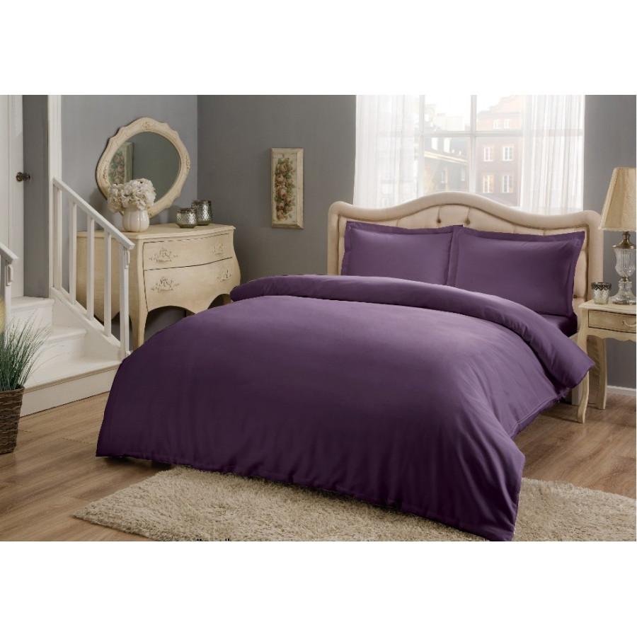 Постельное белье Tac Basic сатин - Murdum фиолетовый евро