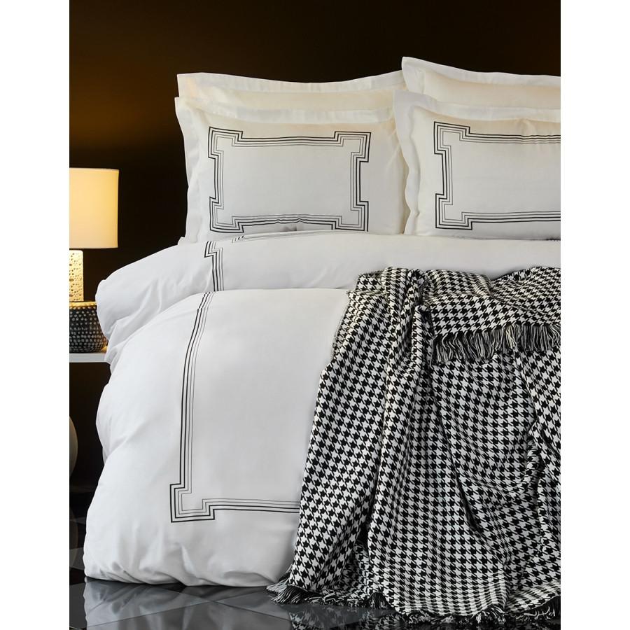 Набор постельное белье с покрывалом Karaca Home - Bourbon siyah 2018-1 черный евро