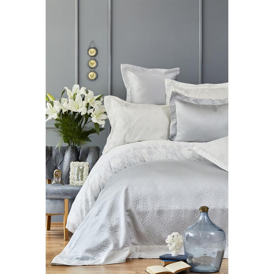 Набор постельное белье с покрывалом Karaca Home - Nora mavi 2019-1 голубой евро