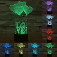 Настольный светильник с 3D эффектом 1106 (Love)   3D ночник
