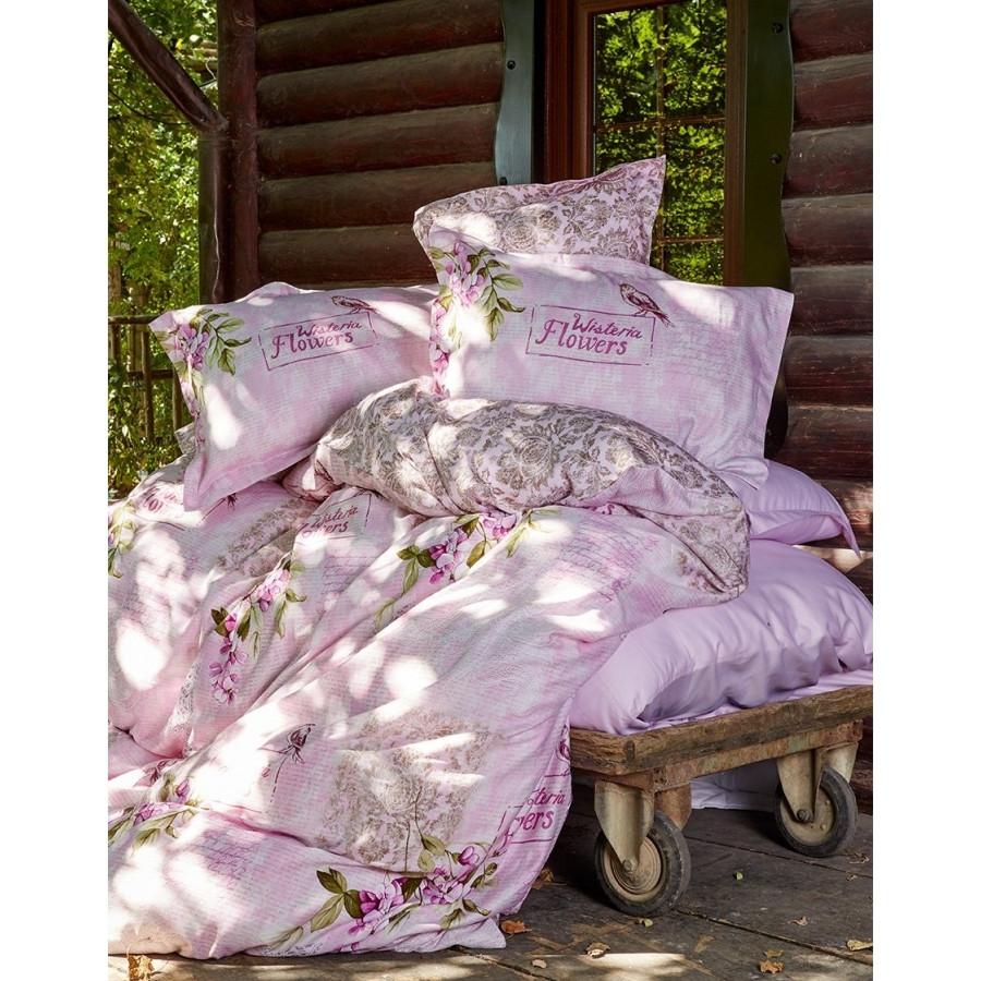 Постельное белье Karaca Home сатин - Wisteria pembe 2016 розовое евро