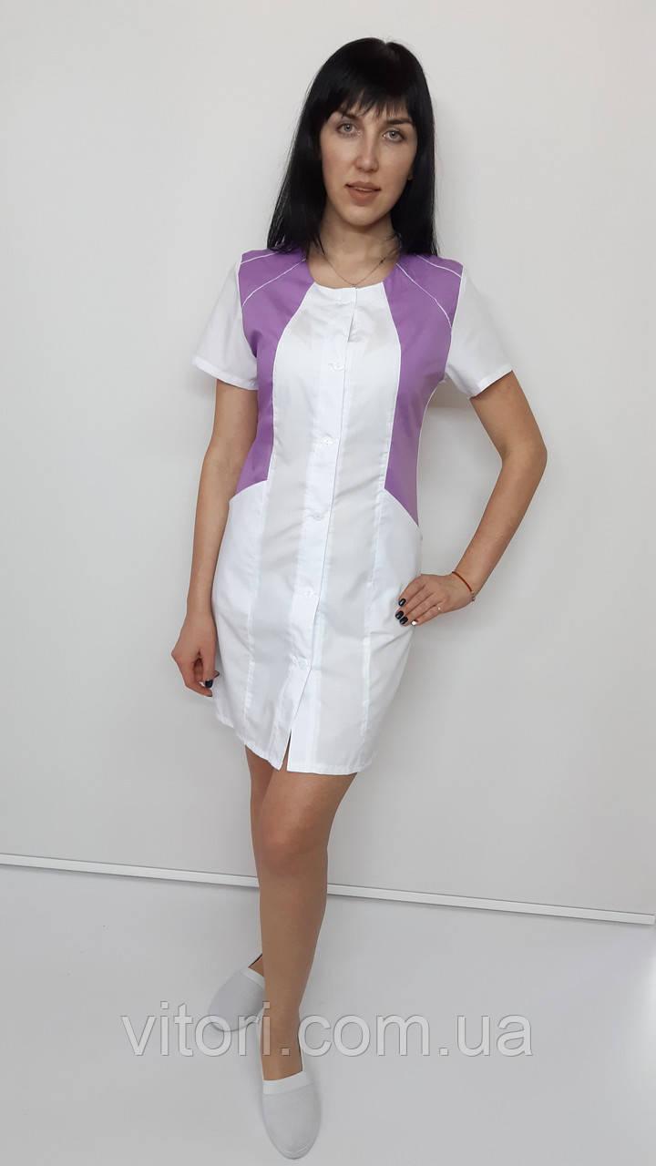 Медичний жіночий халат Ліка бавовна короткий рукав