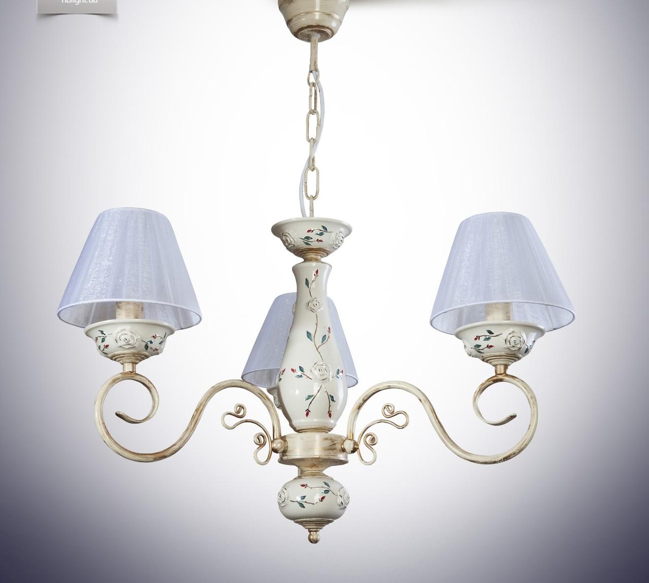 Люстра 3-х ламповая классическая для спальни 10603-1