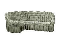 Жаккардовый чехол-накидка на угловой диван с оборкой Karahanli светло-серый