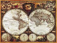 Старинная карта мира 100 см x 130 см