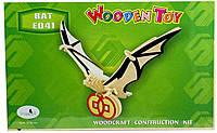 Летучая мышь - сборная 3д модель из дерева (4 пластины)