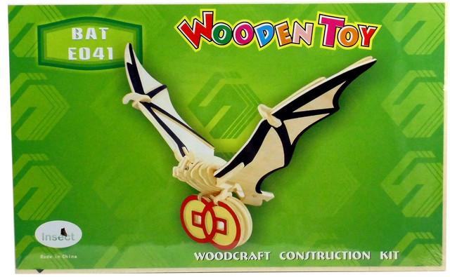 Деревянная сборная 3д модель Летучая мышь