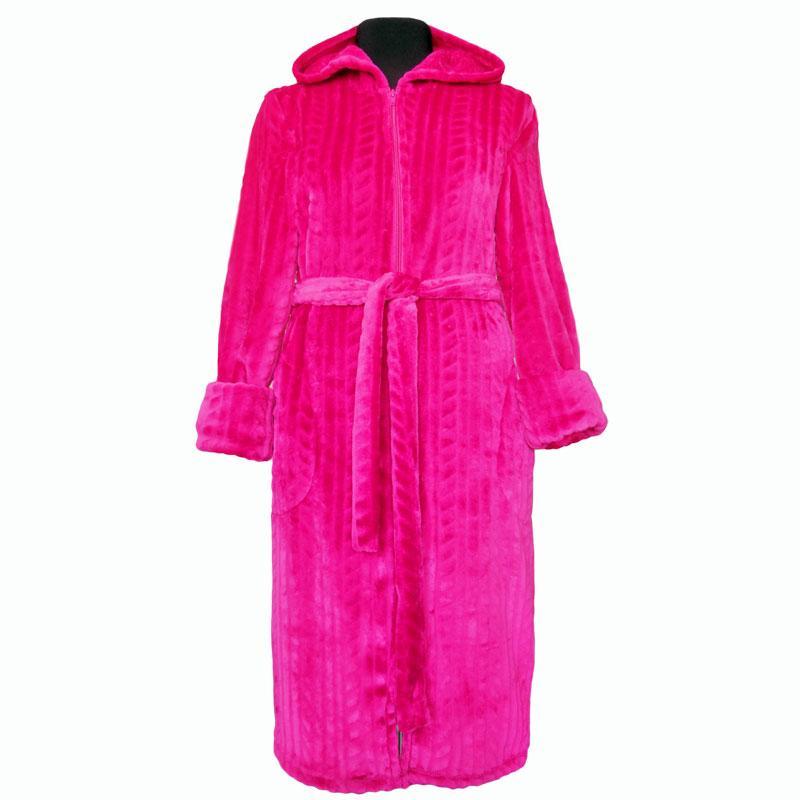 Женский теплый махровый халат на молнии