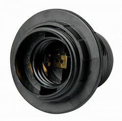 Патрон пластиковый Е27 с гайкой черный, фото 2