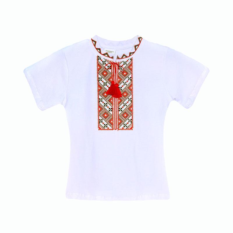 Вышитая футболка для мальчика с коротким рукавом