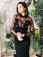Платье женское модное сетка с вышивкой и юбка карандаш миди Sml4084