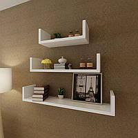 Полка для книг настенная, навесные полки из ДСП полки в спальню, ванною, кухню (3 шт.)