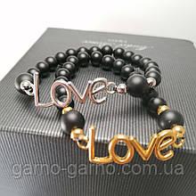 Браслет лава шунгіт LOVE Парний браслет з натуральних каменів для неї і його