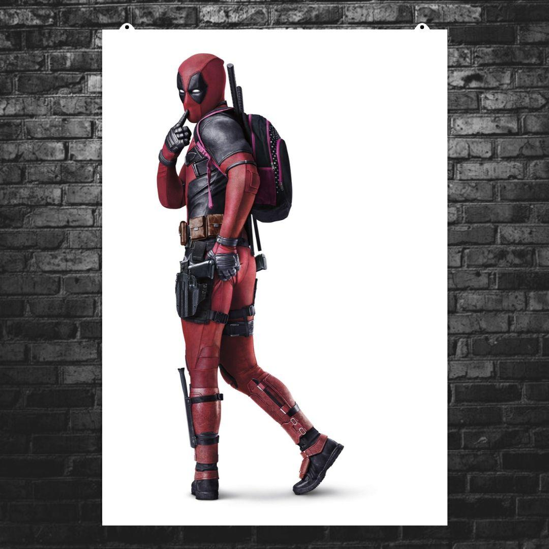 "Постер ""Дэдпул в профиль с розовым рюкзаком"", Deadpool. Размер 60x42см (A2). Глянцевая бумага"