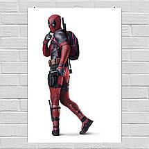 "Постер ""Дэдпул в профиль с розовым рюкзаком"", Deadpool. Размер 60x42см (A2). Глянцевая бумага, фото 2"