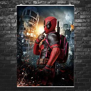"""Постер """"Дэдпул на фоне небоскрёба"""", Deadpool. Размер 60x42см (A2). Глянцевая бумага"""
