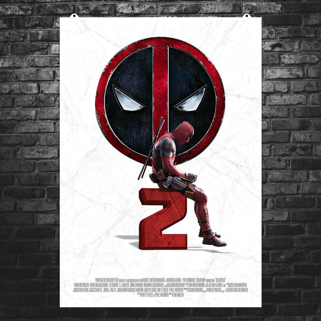 """Постер """"Дэдпул сидит на цифре 2"""". Deadpool 2. Размер 60x42см (A2). Глянцевая бумага"""