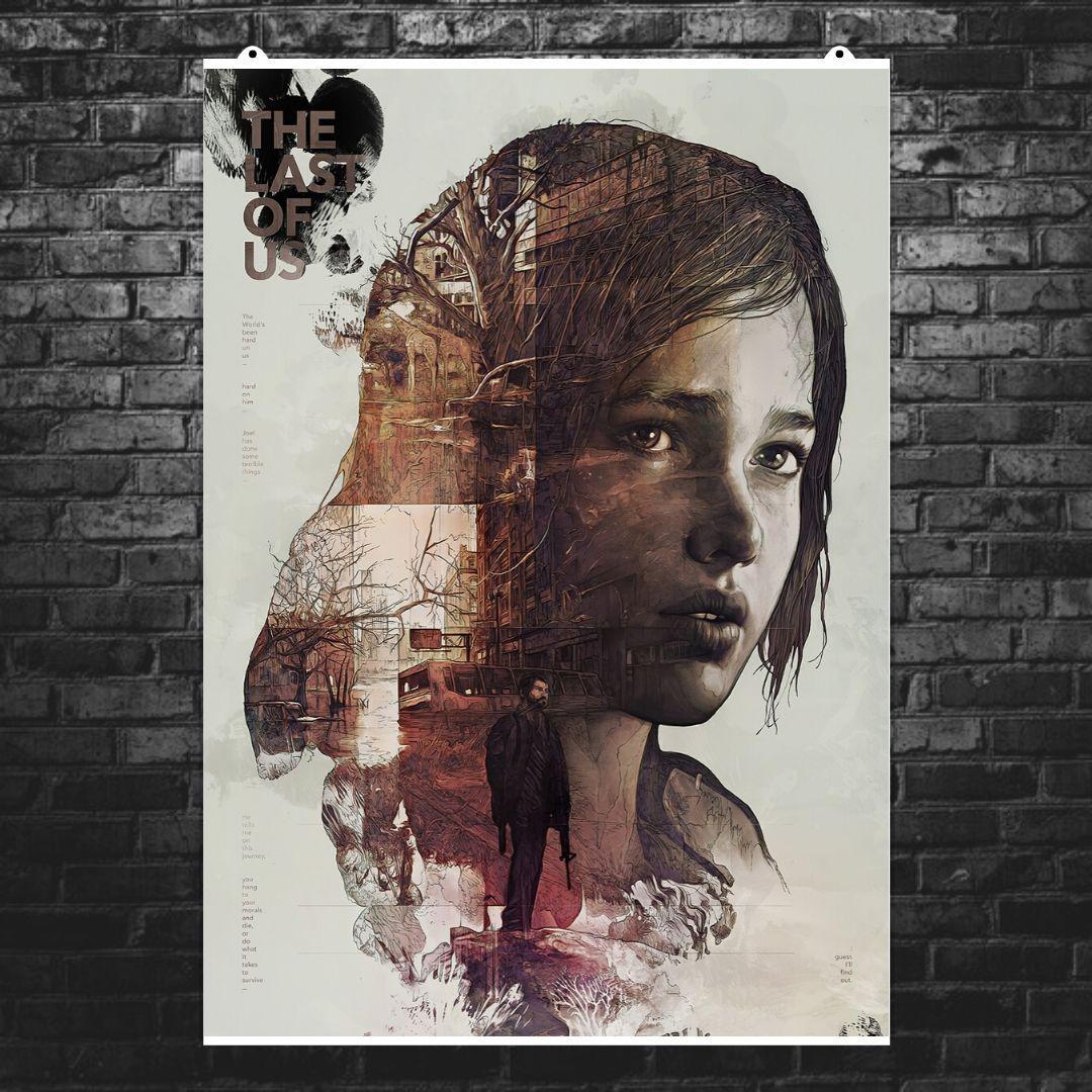 """Постер """"Last Of Us, Элли, коллаж"""". Последние из нас, Одни из нас. Размер 60x43см (A2). Глянцевая бумага"""