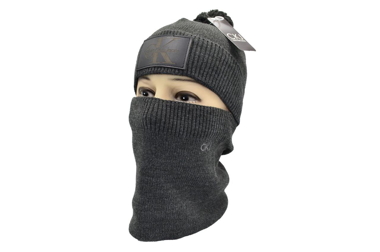 Комплект Flexfit шапка з помпоном и снуд   Jeans Темно-серый (F-0918-107)