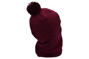Комплект Flexfit шапка з помпоном и снуд   Jeans Бордовый (F-0918-108), фото 3