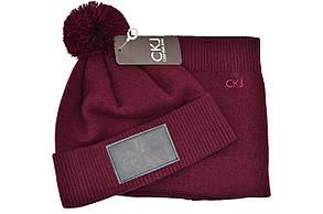 Комплект Flexfit шапка з помпоном и снуд Calvin Klein Jeans Бордовый (F-0918-108), фото 2