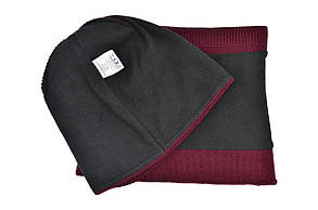 Комплект Flexfit шапка з помпоном и снуд Calvin Klein Jeans Бордовый (F-0918-108), фото 3