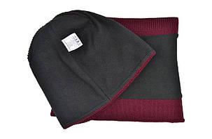 Комплект Flexfit шапка з помпоном и снуд   Jeans Бордовый (F-0918-108), фото 2