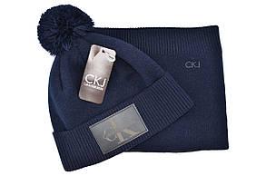 Комплект Flexfit шапка з помпоном и снуд Calvin Klein Jeans Темно-синий (F-0918-109), фото 2