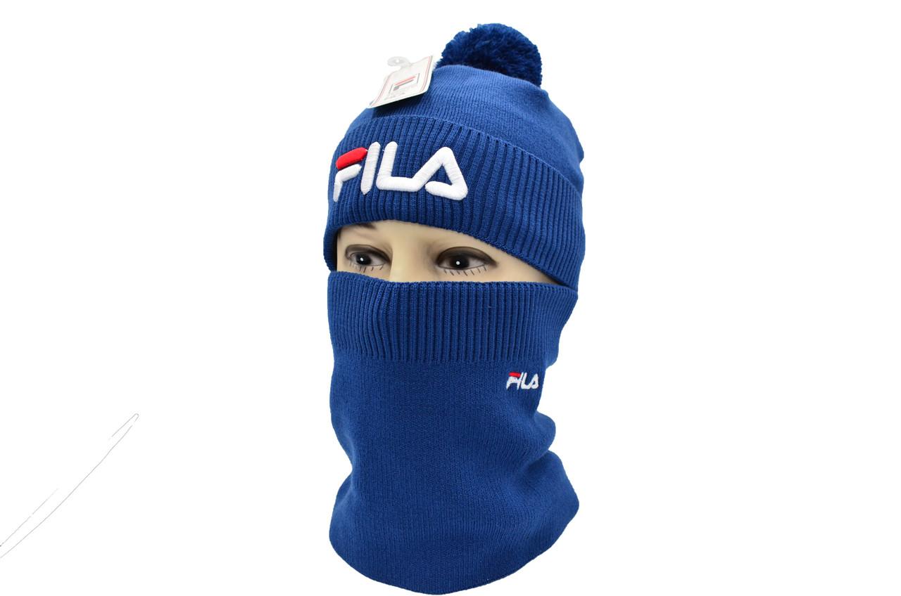 Комплект Flexfit шапка з помпоном и снуд Fila Синый (F-0918-112)