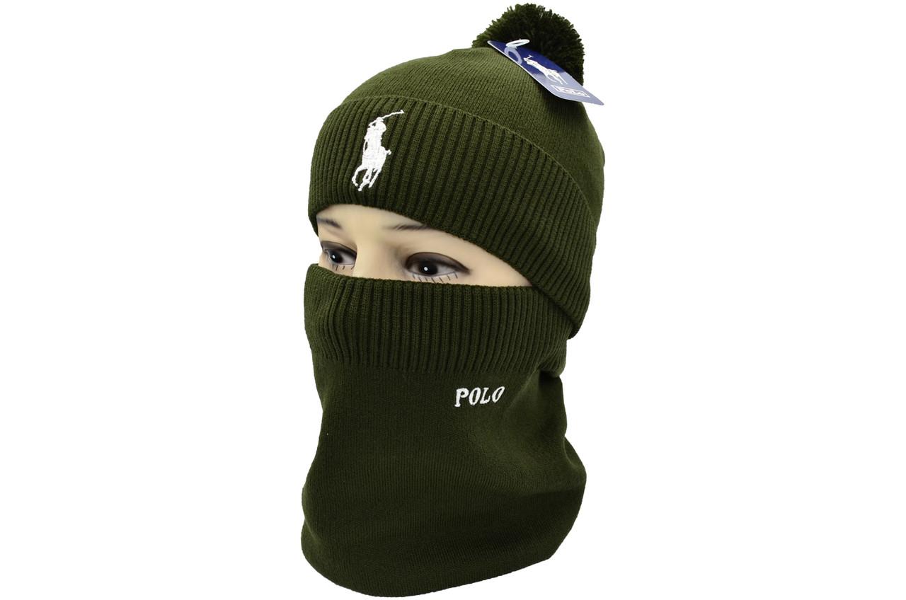 Комплект Flexfit шапка з помпоном и снуд POLO Оливковый (F-0918-113)