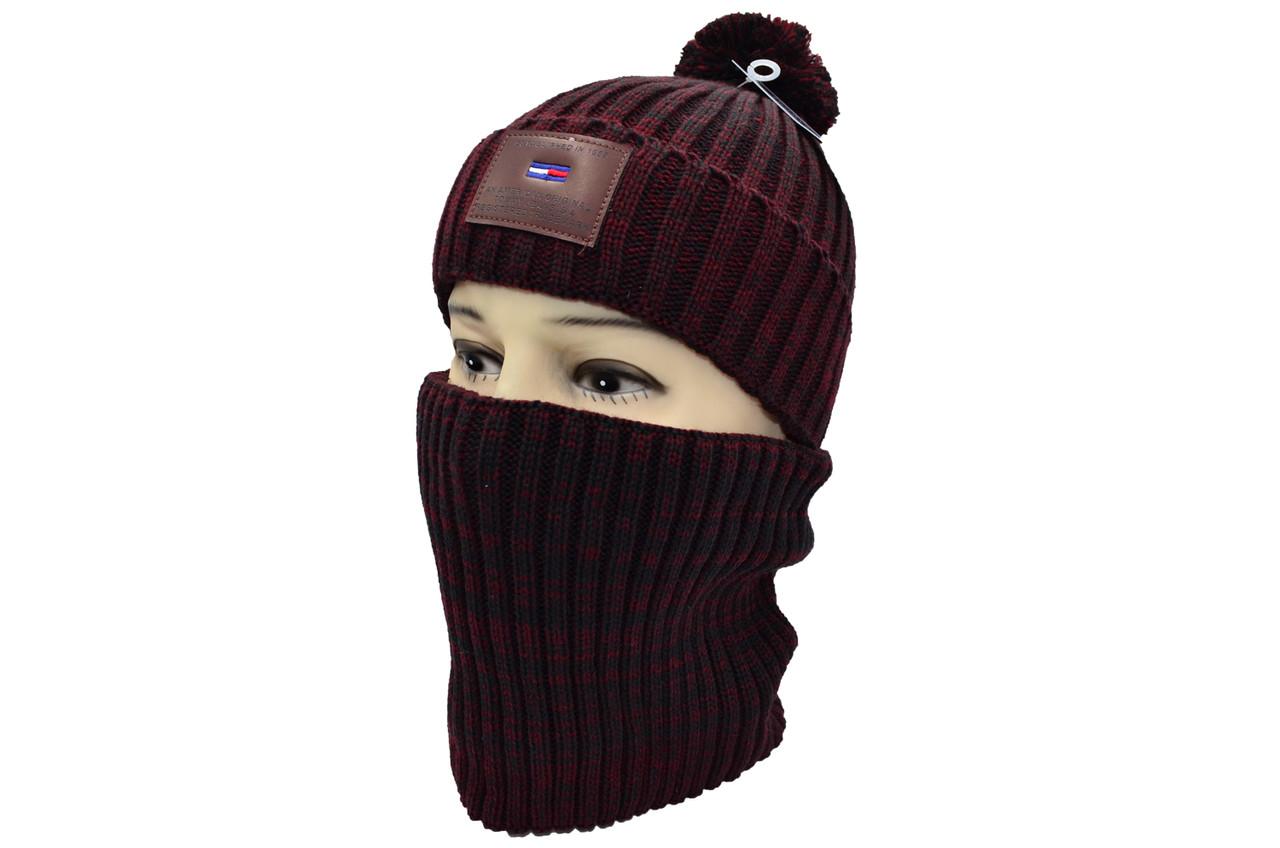 Комплект Flexfit шапка з помпоном и снуд   Бордовый меланж (F-0918-114)