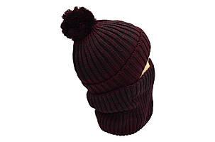 Комплект Flexfit шапка з помпоном и снуд   Бордовый меланж (F-0918-114), фото 2