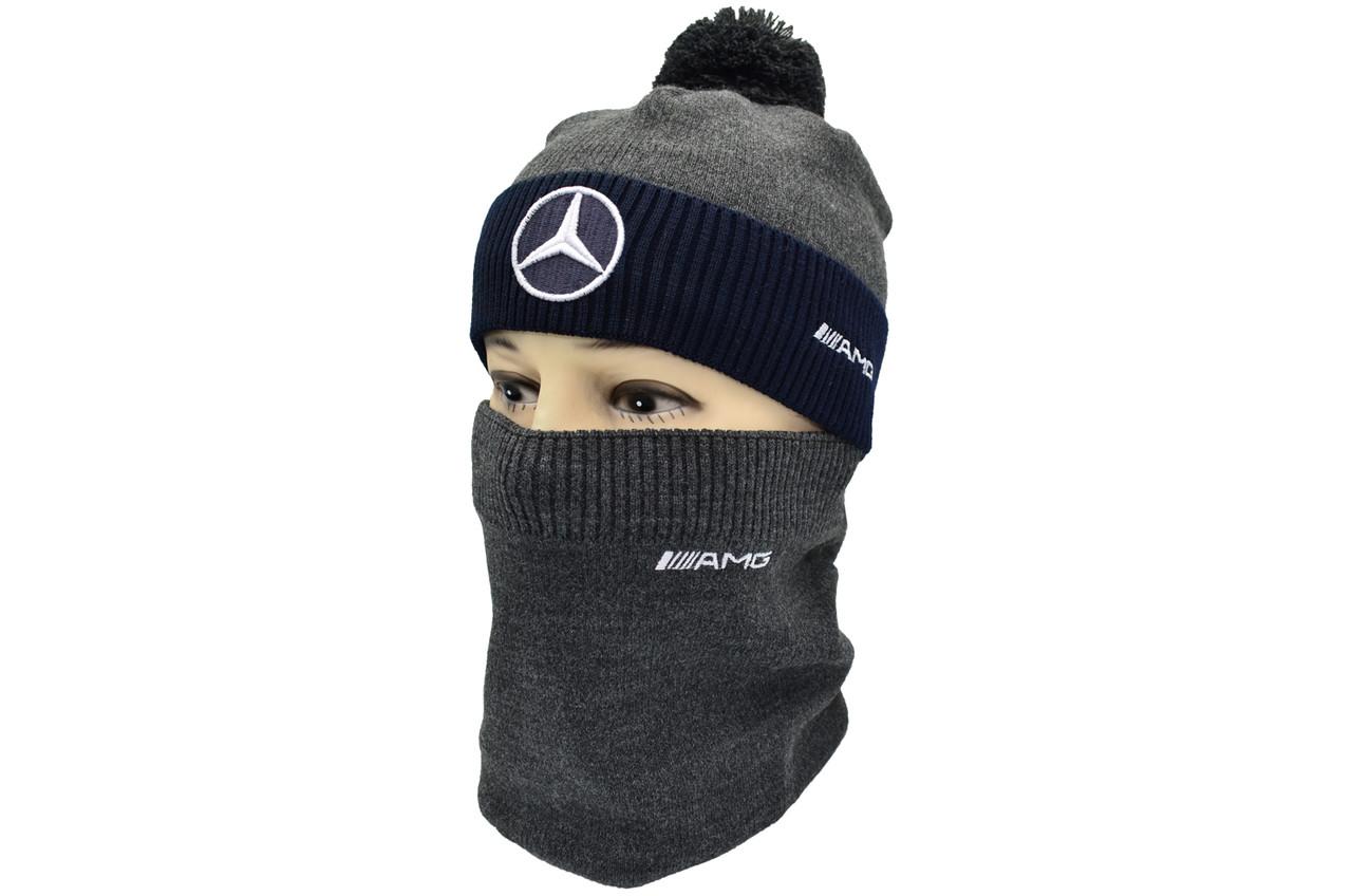 Комплект Flexfit шапка з помпоном и снуд Mercedes Темно-серый (F-0918-115)