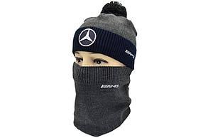Комплект Flexfit шапка з помпоном и снуд Mercedes Темно-серый (F-0918-115), фото 2