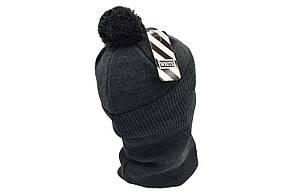 Комплект Flexfit шапка з помпоном и снуд Off-White Темно-серый (F-0918-118), фото 3
